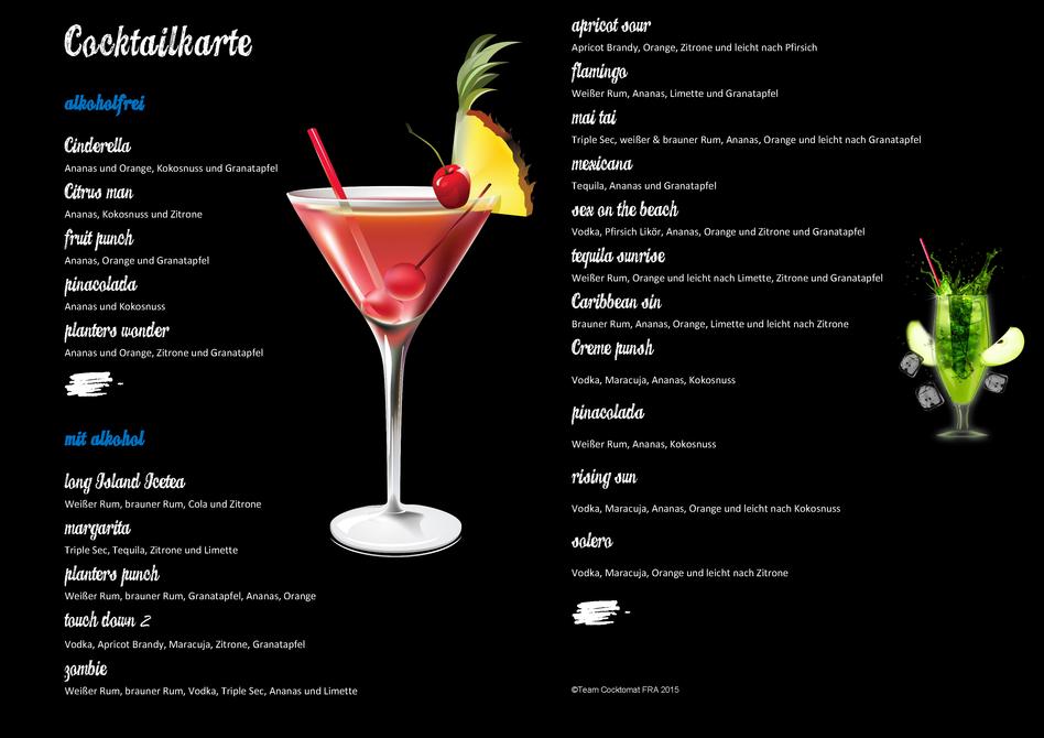 Cocktail Karte.Cocktailkarte